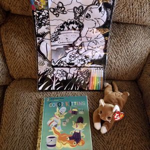 Cat Plush Toy, Book And New Coloring Poster for Sale in St. Peters, MO