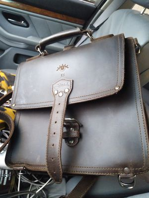 Very heavy duty Sadd itle leather Men's leather hand bag or study bag for Sale in Dallas, TX