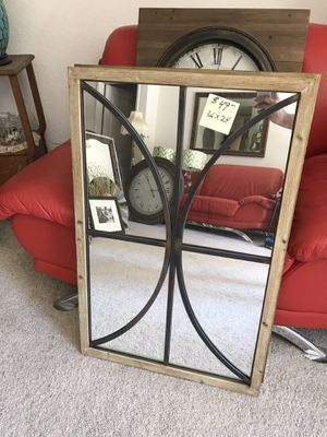 Farmhouse style or industrial wood and metal wall mirror for Sale in Visalia, CA