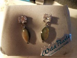 Mystic opal W/CZ diamonds set in SS earrings for Sale in Baltimore, MD