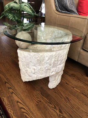 Coffee table with matching end table with beveled glass tops for Sale in Bend, OR