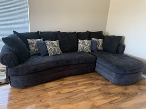 Sectional couch $300 navy blue for Sale in La Mesa, CA