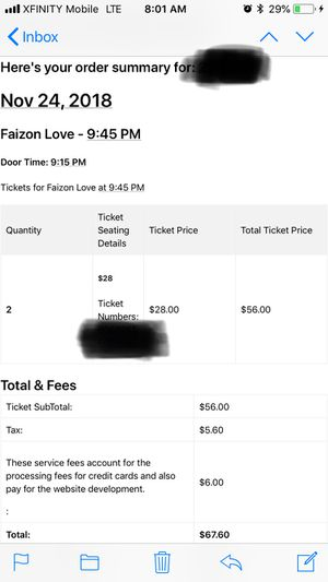 2 tickets to see Faizon Love Nov 24th @ DC comedy Loft for Sale in Washington, DC