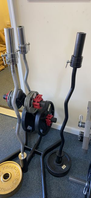 Deal of the day! Olympic curl bar for Sale in Yalesville, CT