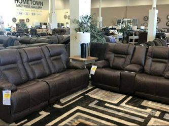 Wurstrow Smoke Leather Power Reclining Living Room Set (SOFA and LOVESEAT for Sale in Round Rock,  TX