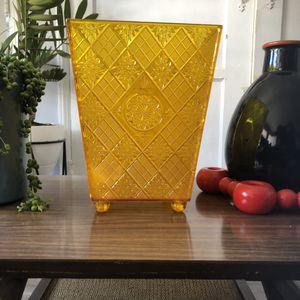 Mid Century Yellow Acrylic Trash Bin for Sale in Long Beach, CA
