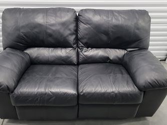 Black leather two seater sofa very soft smooth buttery leather for Sale in Portland,  OR