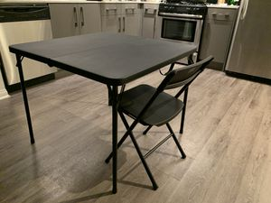 Portable folding dining table with 4 chairs like new for Sale in Anaheim, CA