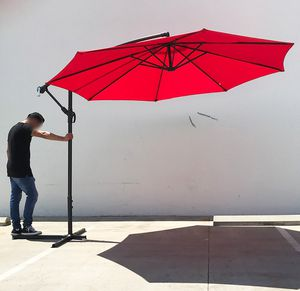 New in box $60 each Round 10' Offset Patio Umbrella Outdoor Off Set Crank Lift with Cross Stand (3 Colors) for Sale in Whittier, CA