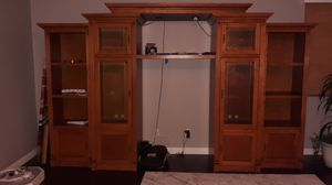 Beautiful real wood entertainment center with bookshelves for Sale in Etiwanda, CA