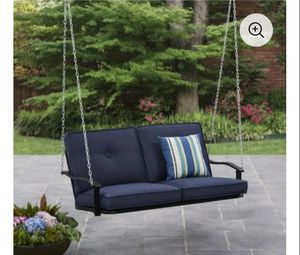 Outdoor porch swing with blue cushions 🆕 in 📦not assembled for Sale in Fort Worth, TX