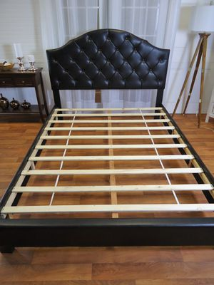 Black queen bed frame plush headboard scallop for Sale in Baltimore, MD