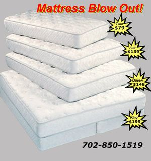 New special Mattress blow out sale! Twin size, full size, queen size and king sizes in stock for Sale in Las Vegas, NV