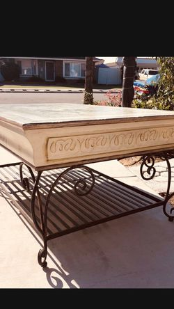 """Coffee table with unique craftsmanship with drawers。Dimensions: 21""""inches high 50""""inches Wide 32""""inches Deep for Sale in Cypress,  CA"""