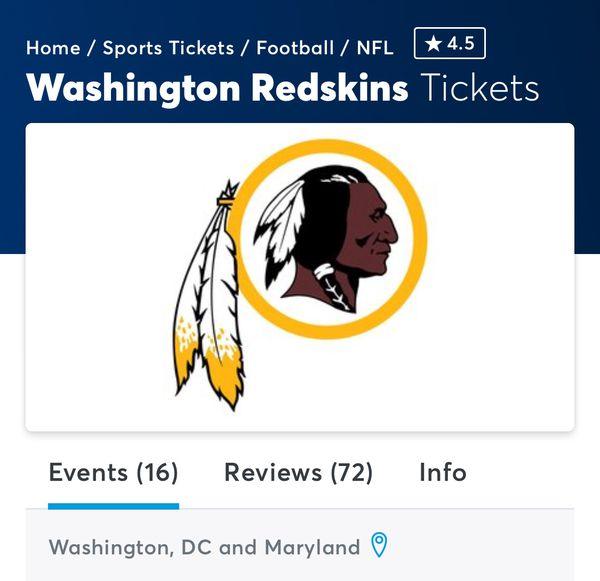 2018 Redskins Game Tickets.