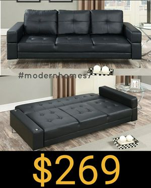 Sofa bed sleeper couch futon black leather for Sale in Buena Park, CA