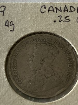 Canada silver 1919 25 cents vf for Sale in Quincy, MA