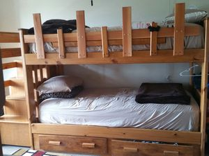 bunk bed and 5 drawers on the side &two elegant corner hutch ,,it's a set, mattress is not included. for Sale in Chelsea, MA
