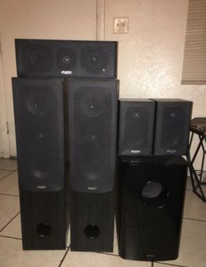 • home theater speakers •The Audioline speakers •The subwoofer ONKYO •new speakers with very good sound for Sale in Phoenix, AZ