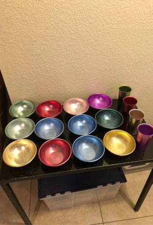 Collection of 1950's metal bowls and glasses for Sale in Phoenix, AZ