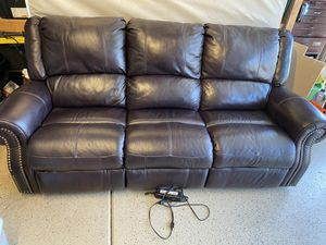 Leather couch/ sofa- electric recline for Sale in Temecula, CA