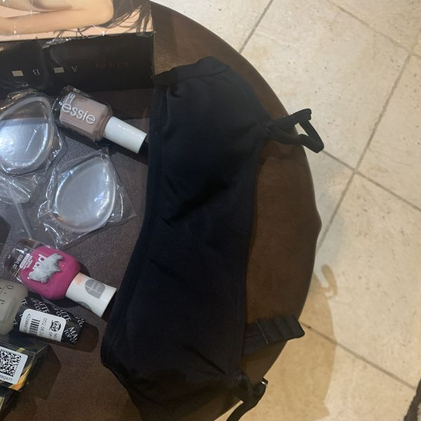 Two invisible bras cup A, 1 black Bikini top xs (00), 3 nail polish, elf setting powder, two silicone beauty blenders and two finishing hair creams