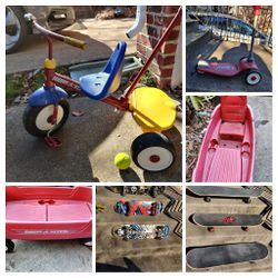 WOW ! Moving ALL 4 WAGON TRICYCLE SCOOTER SKATE BOARDS RADIO FLYER for Sale in Herndon,  VA