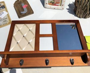 Wood wall coat rack with 2 picture frames and mirror on it for Sale in Broken Arrow, OK
