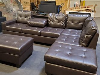 Brown Leather Sectional with Storage Ottoman for Sale in Atlanta,  GA