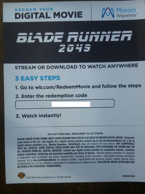 Blade Runner 2049 Digital HD Code from 4K Set Moviesanywhere Movie for Sale in Los Angeles, CA