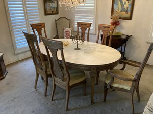 Antique solid wood dining table 6 chairs for Sale in Huntington Beach, CA