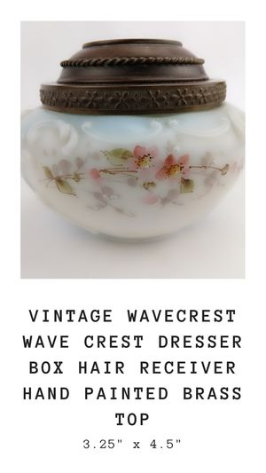 Antique Vintage Wavecrest Wave Crest Dresser Box Hair Receiver Hand Painted Brass Top for Sale in Orange, CA