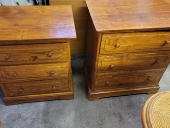 Antique Wood Nightstands hand Made in the Philippines out of Phillipine Mahogany wood called Narra. for Sale in Portland,  OR