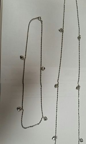 2 Silver necklace with puff hearts for Sale in San Francisco, CA