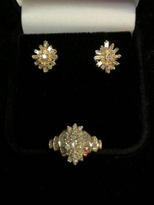 14K Gold diamond Ring and earrings set with round and baguette diamonds ring size 4 8.2grn no trade for Sale in Tacoma, WA