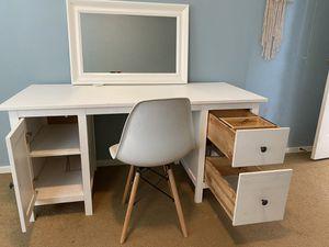 IKEA Hemnes Desk w/ Wayfair chair and white mirror for Sale in Tacoma, WA