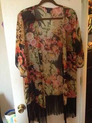 Black floral-fringe kimono for Sale in Georgetown, TX