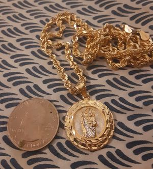 14k Rope Chain & St Jude Pendant for Sale in Fontana, CA