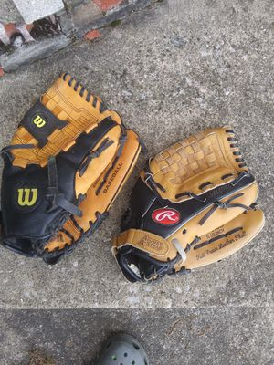 2 Baseball Gloves & 3 Baseballs for Sale in North Royalton, OH