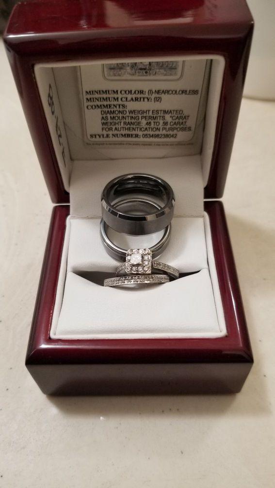 2Men Tungsten Wedding ring bands Size 8.5-9