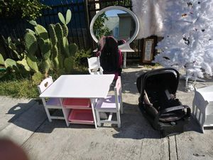White little table with mini drawers on bottom & car seat for Sale in San Diego, CA