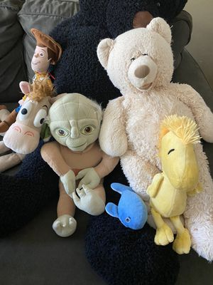 Stuffed animals: toy story woody and bullseye, yoda, peanuts for Sale in Rancho Cucamonga, CA