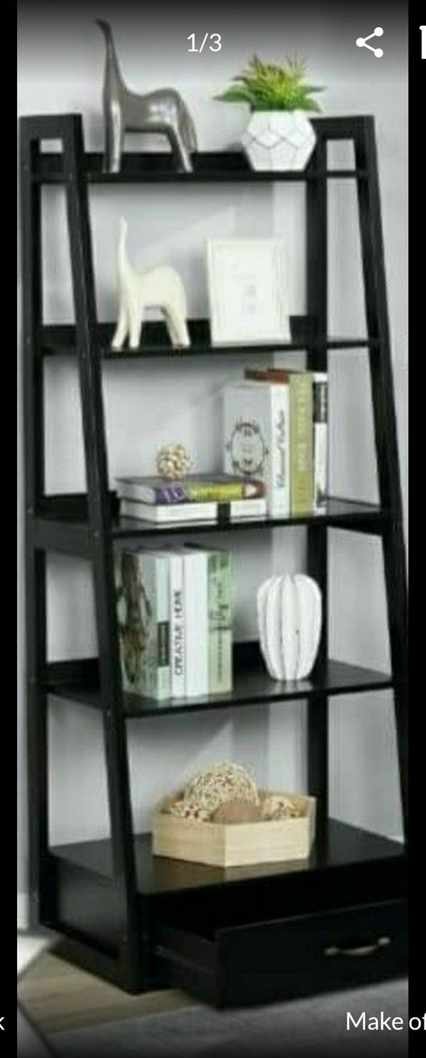 "64"" Black Wood 5-shelf Ladder Bookcase with Drawer"