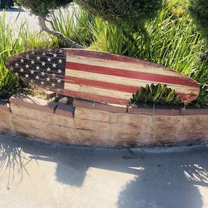 American Flag United States distress look Wood Surfboard Beer Bar Man cave mirror for Sale in East Los Angeles, CA