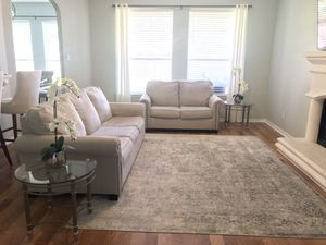 Ashley Large Sofa Couch & Love Seat with 2 End Side Tables For Home Decor Living Room for Sale in Spring, TX