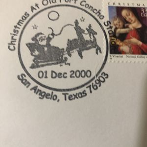 Commemorative post mark from annual Christmas at Old Fort Concho ld Ft Concho event the first weekend of Decent for Sale in San Angelo, TX