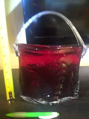 Large Vintage Deep Red Glass Basket UNIQUE Collectible for Sale in Salt Lake City, UT