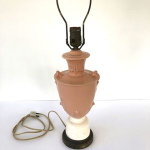 Vintage coral pink and ivory ceramic or porcelain lamp for Sale in Rydal, PA