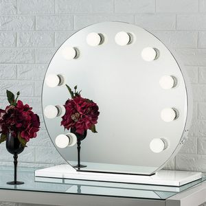 """(NEW) $210 Round 28"""" Vanity Mirror w/ 10 Dimmable LED Light Bulbs, Hollywood Beauty Makeup USB Outlet for Sale in Whittier, CA"""