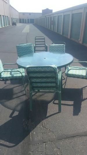GREAT CONDITION INDOOR OUTDOOR PATIO SET 7 PIECE FOR ALL OCCASIONS CLEAN STURDY STACKABLE CHAIRS DELIVERY IS POSSIBLE TODAY for Sale in Philadelphia, PA
